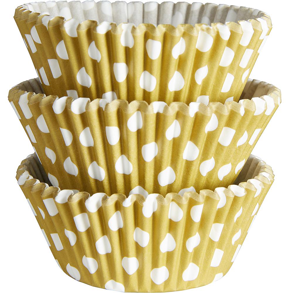 Gold Polka Dot Baking Cups 75ct Image #1