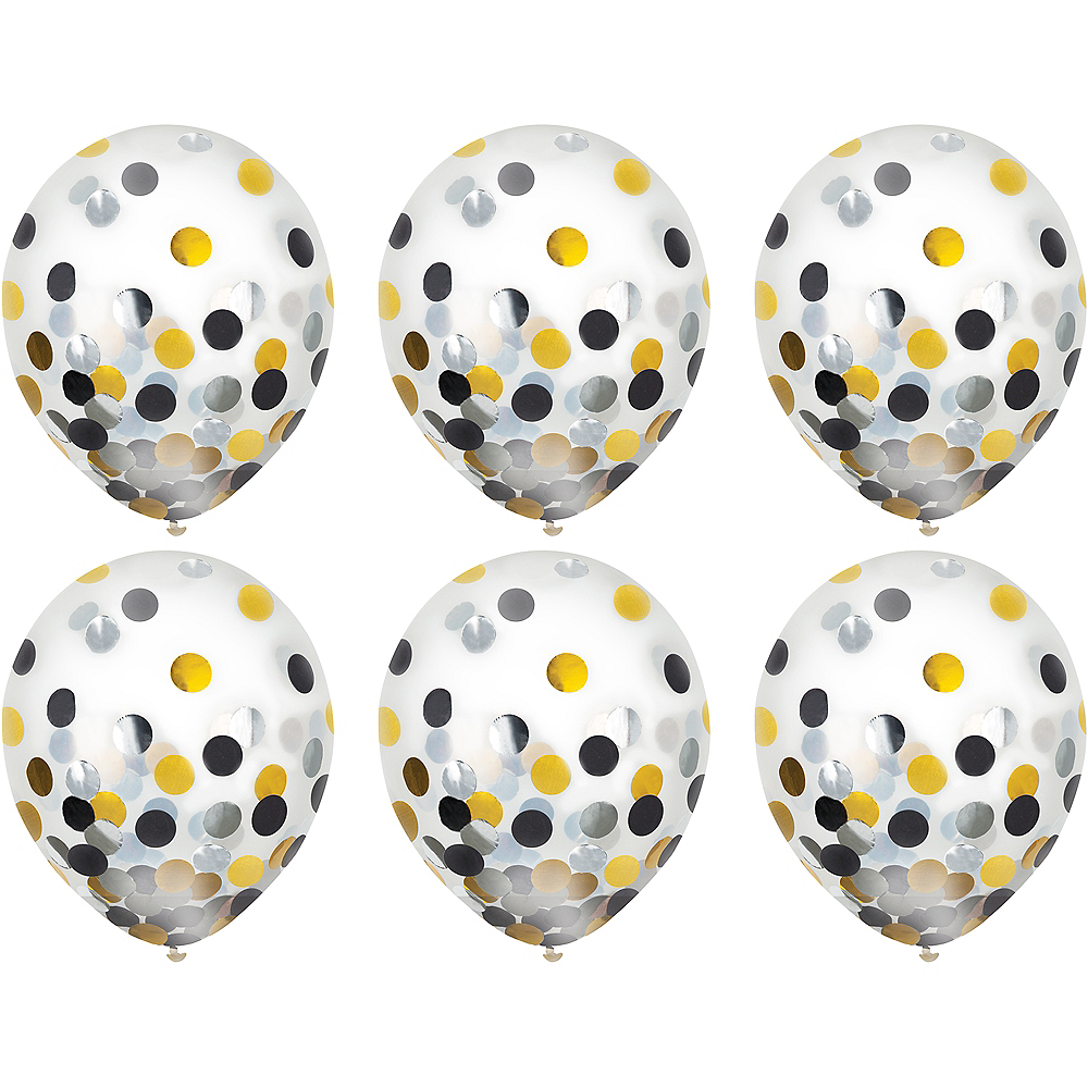Black, Gold & Silver Confetti Balloons 6ct, 12in Image #2