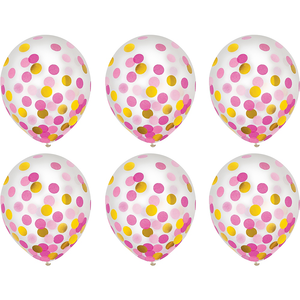 Nav Item for Gold & Pink Confetti Balloons 6ct Image #2