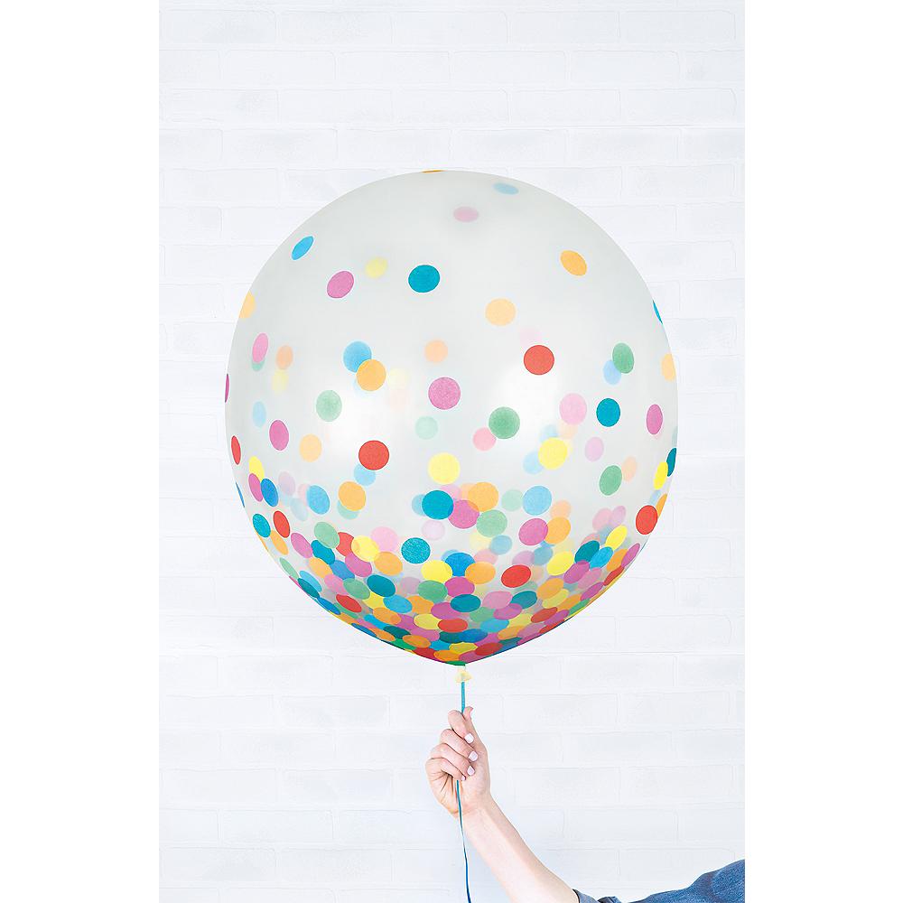 Round Multicolored Confetti Balloons 2ct, 24in Image #1