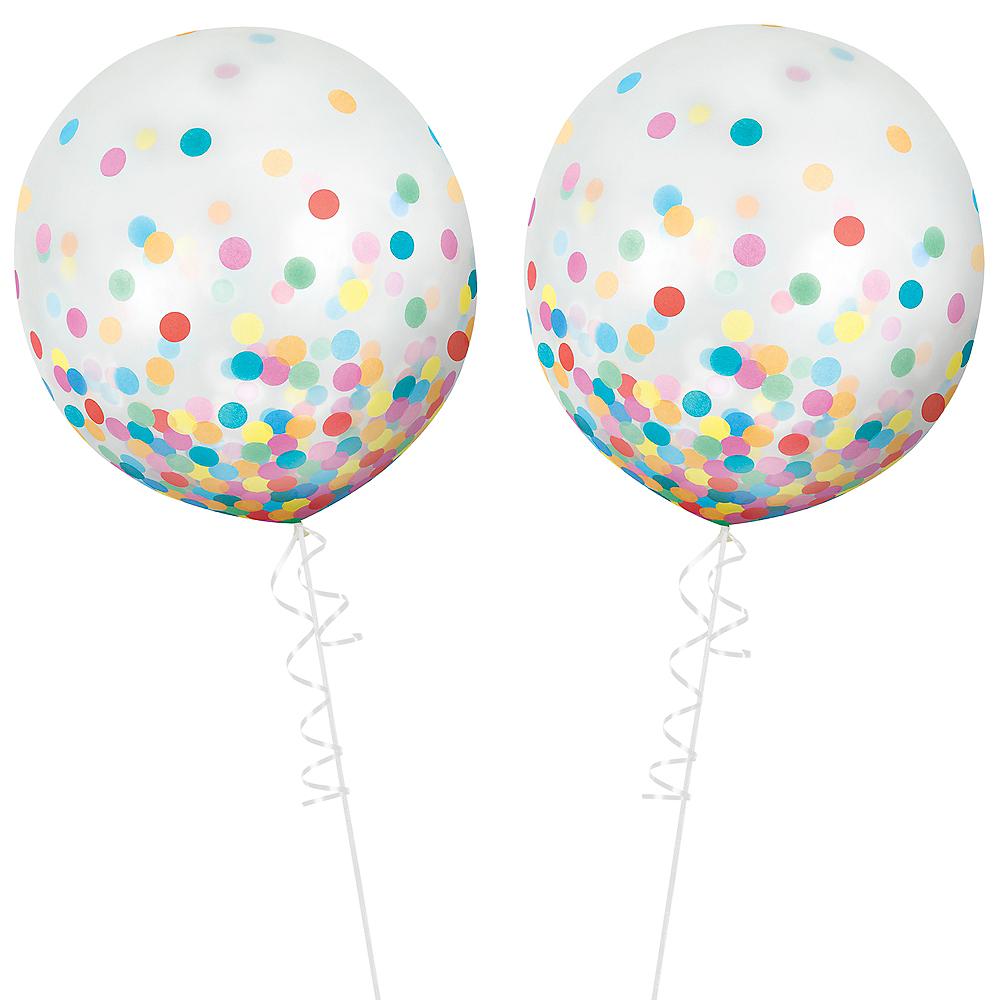 Round Multicolored Confetti Balloons 2ct, 24in Image #2