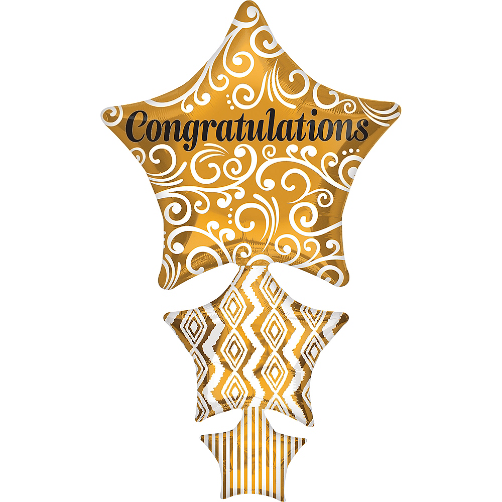 Giant Stacked Gold Congratulations Star Balloon, 25in Image #1