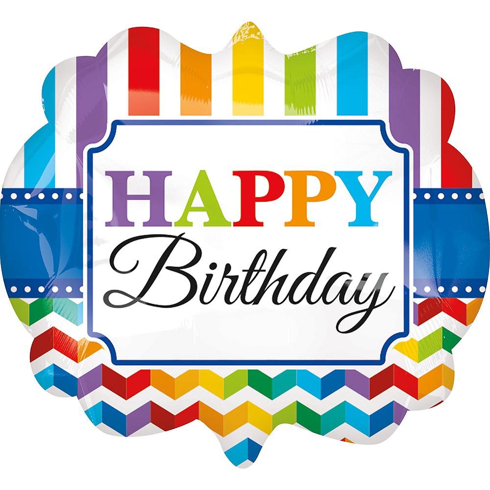 Rainbow Chevron Happy Birthday Scroll Balloon, 25in Image #1