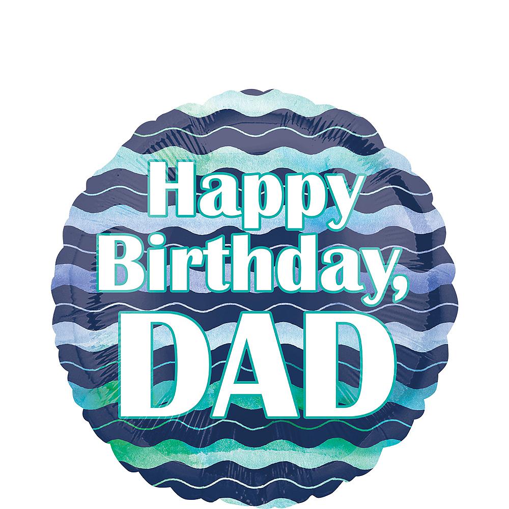Blue Waves Dad Birthday Balloon Image #1