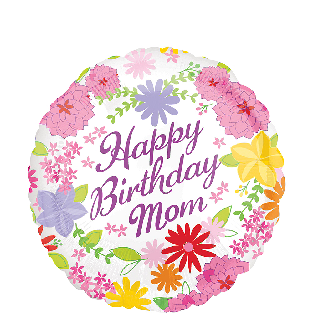 Pastel Flowers Mom Birthday Balloon Image #1