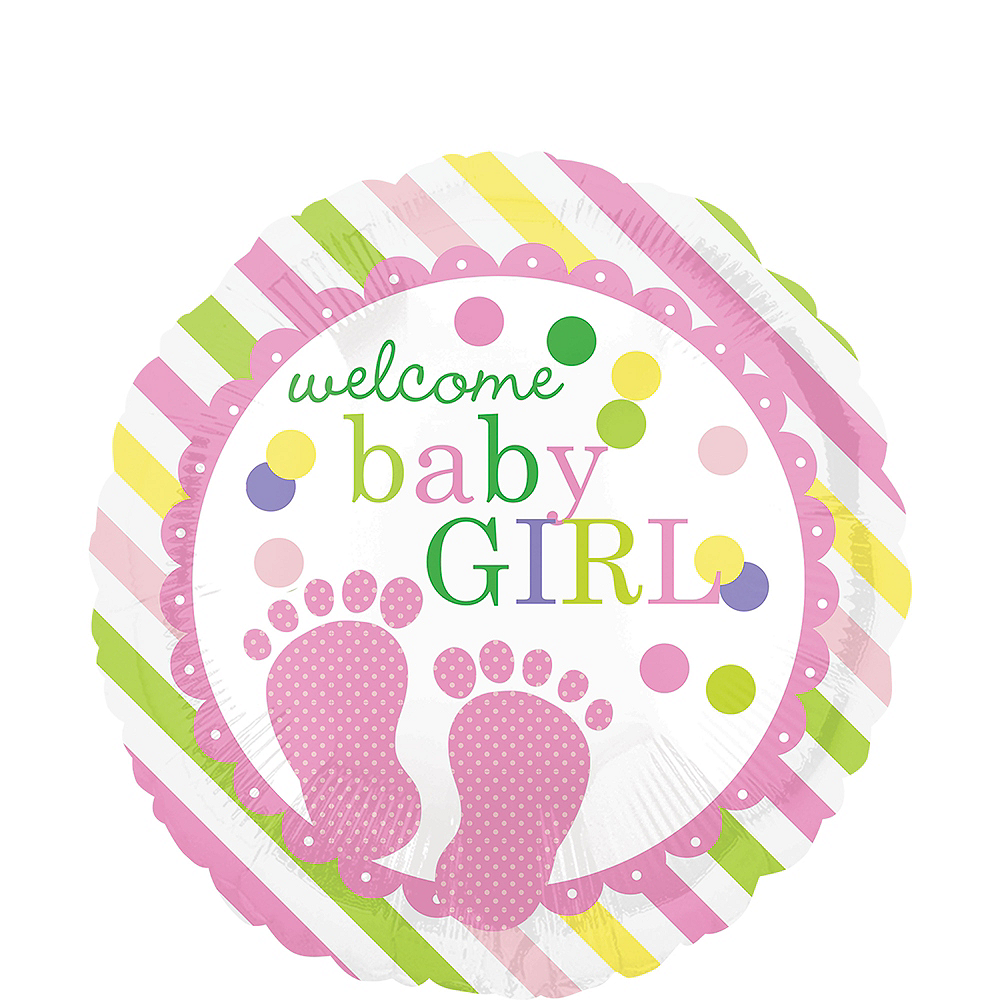 Colorful Welcome Baby Girl Balloon Image #1