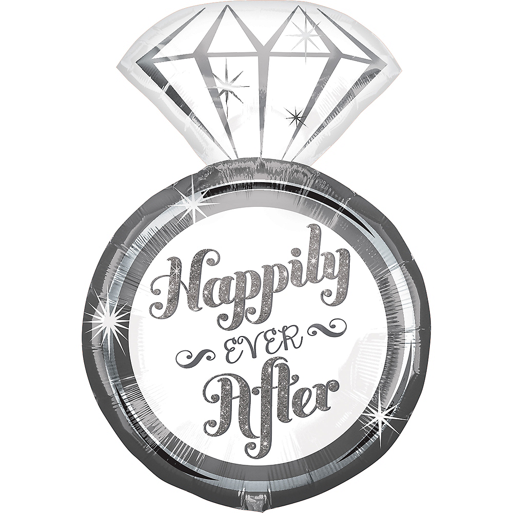 Happily Ever After Ring Wedding Balloon, 27in Image #1