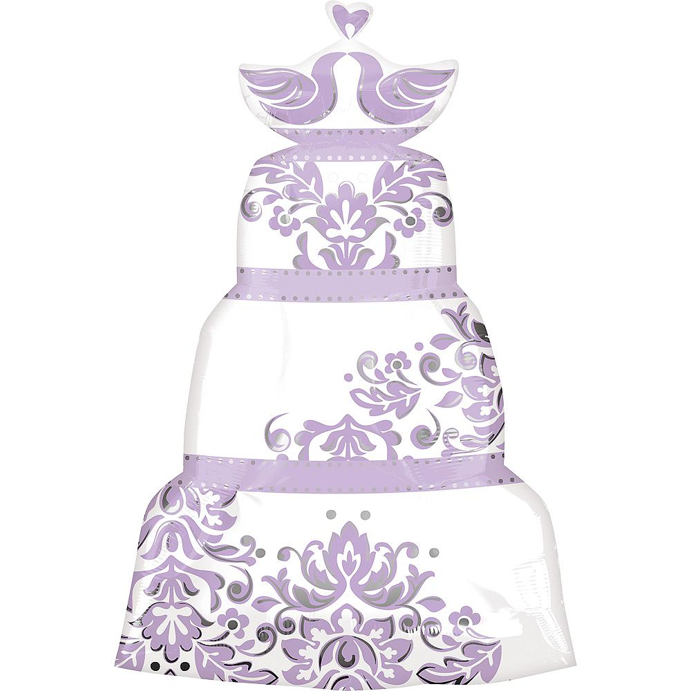 Giant Purple & White Wedding Cake Balloon, 31in Image #1
