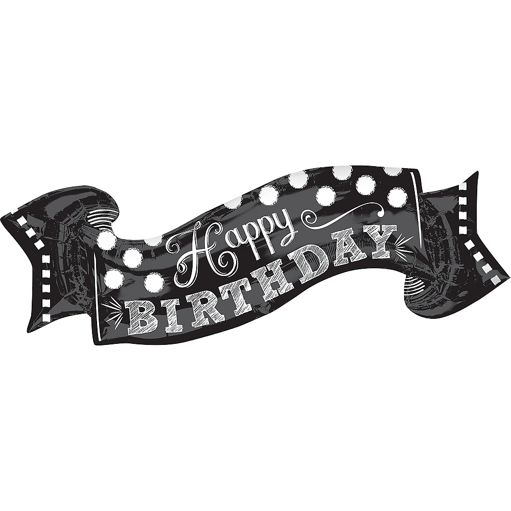 Giant Chalkboard Dots Birthday Banner Balloon, 40in Image #1