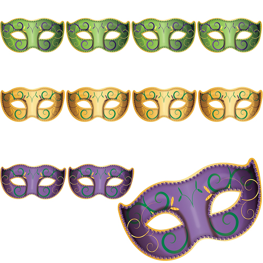 Nav Item for Masquerade Mask Mardi Gras Cutouts 11ct Image #1