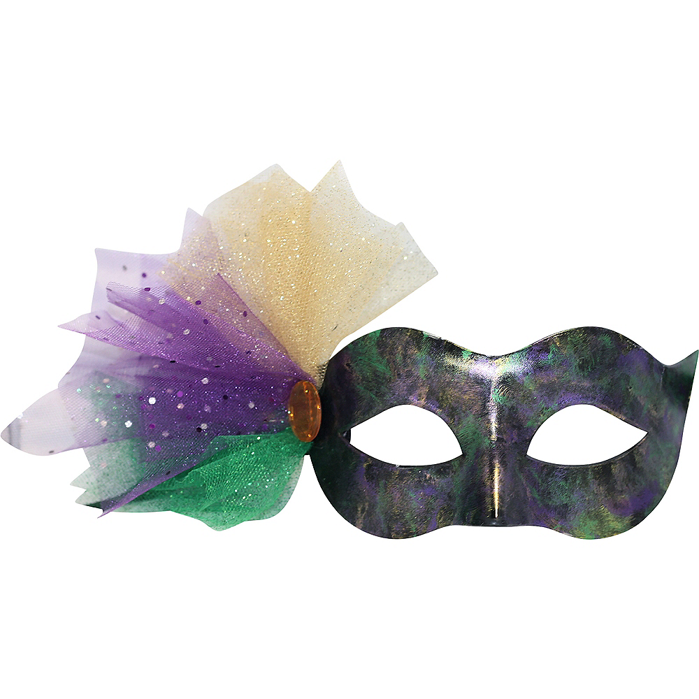 Black, Green & Purple Masquerade Mask with Tulle Image #1