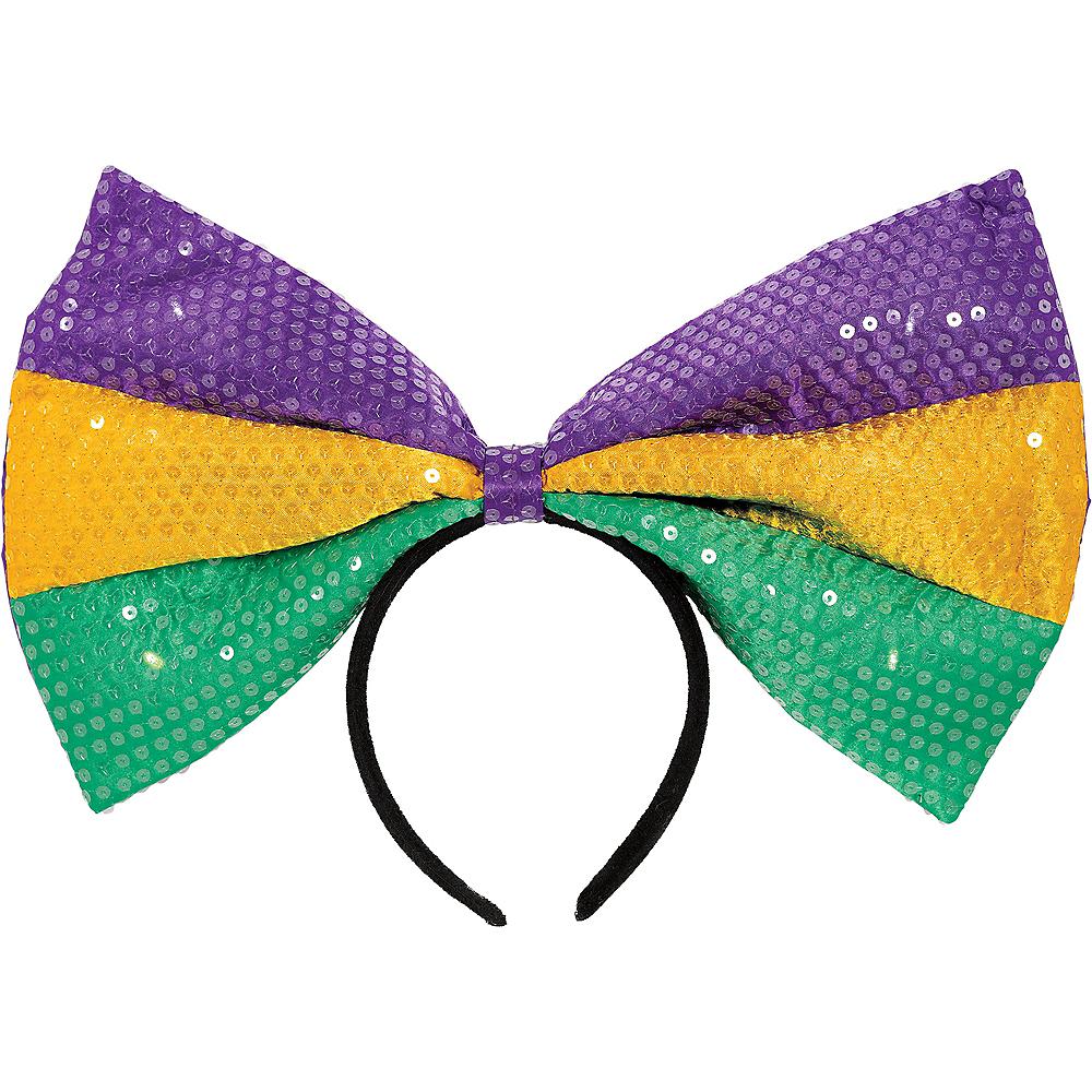 Light-Up Sequin Mardi Gras Bow Headband Image #1