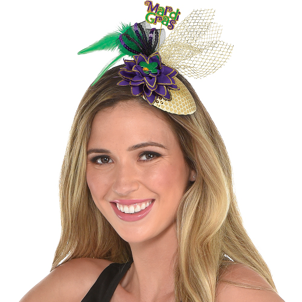 Clip-On Mardi Gras Fascinator Hat Image #1