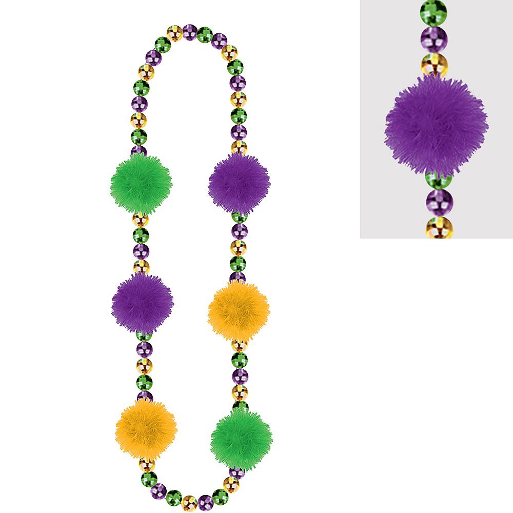 Mardi Gras Pom-Pom Bead Necklace Image #1