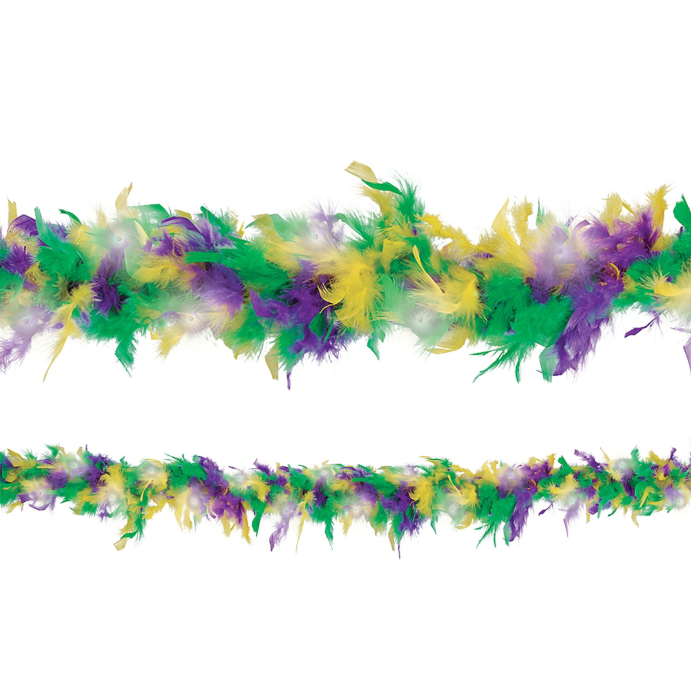 Light-Up Mardi Gras Feather Boa Image #1