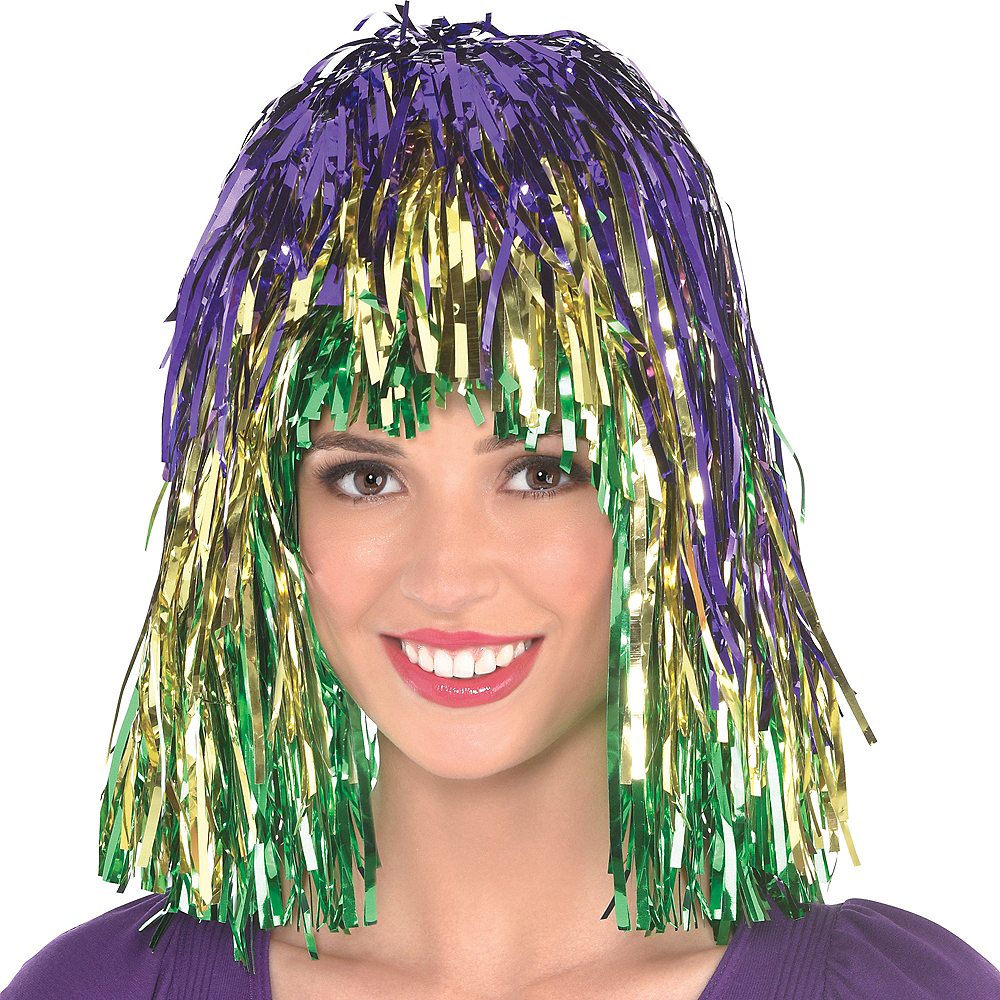 Nav Item for Mardi Gras Tinsel Wig Image #1