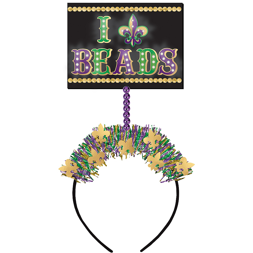 Light-Up Mardi Gras Beads Head Bopper Image #1