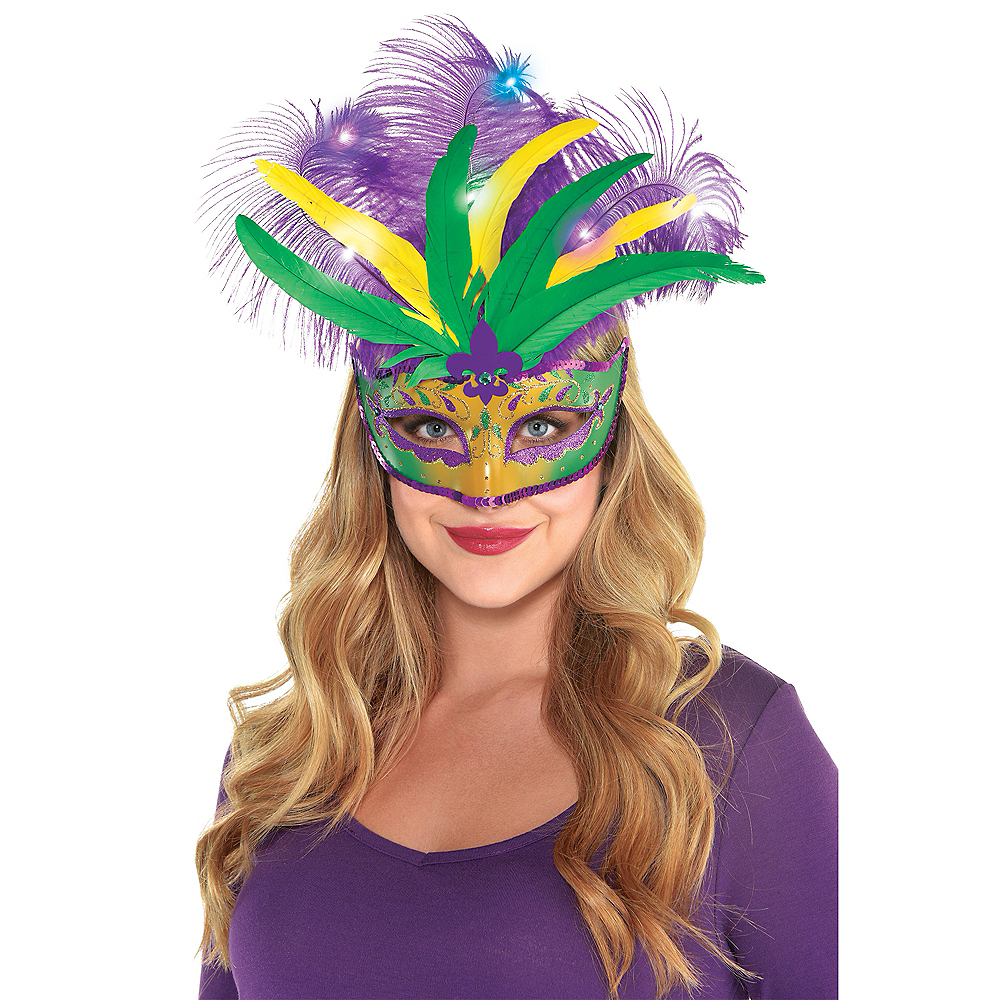 Light-Up Mardi Gras Masquerade Mask Image #2