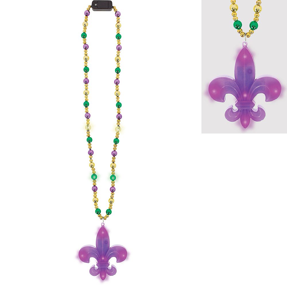 Light-Up Fleur-de-Lis Pendant Bead Necklace Image #1