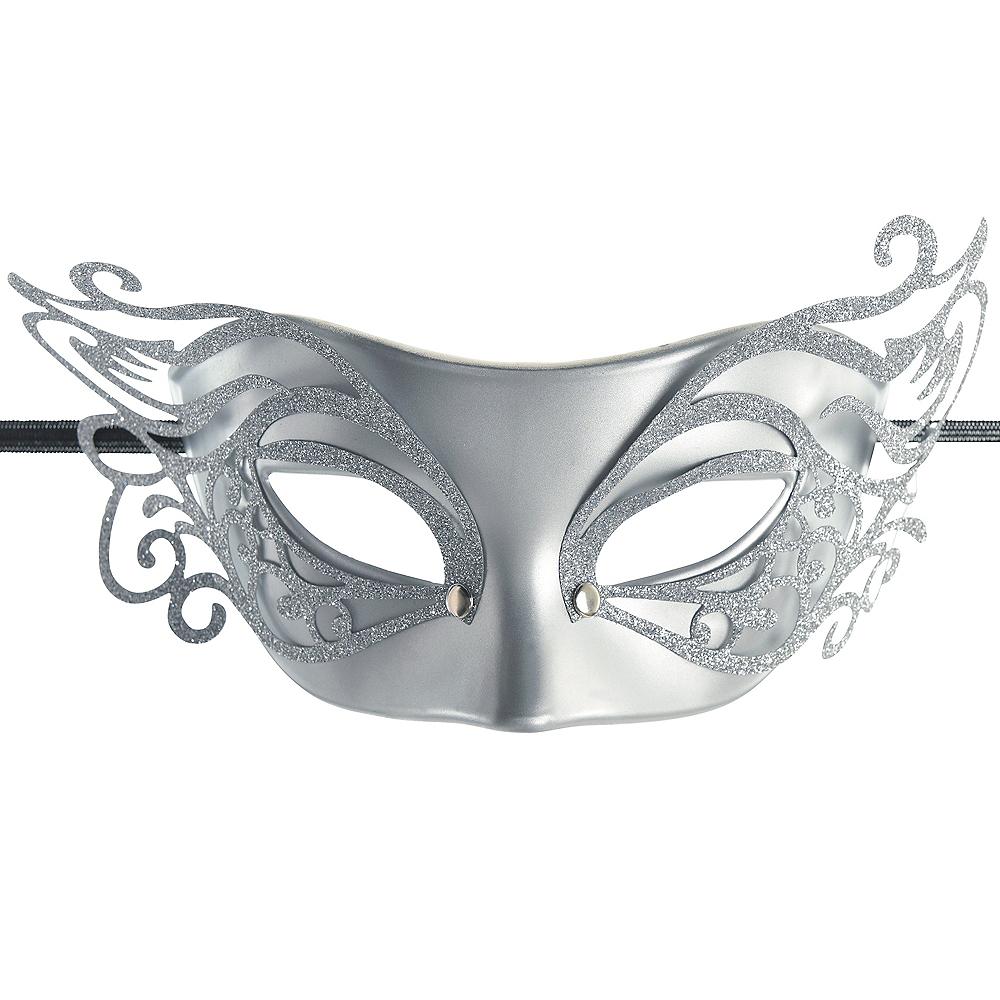 Glitter Silver Elegant Masquerade Mask Image #1