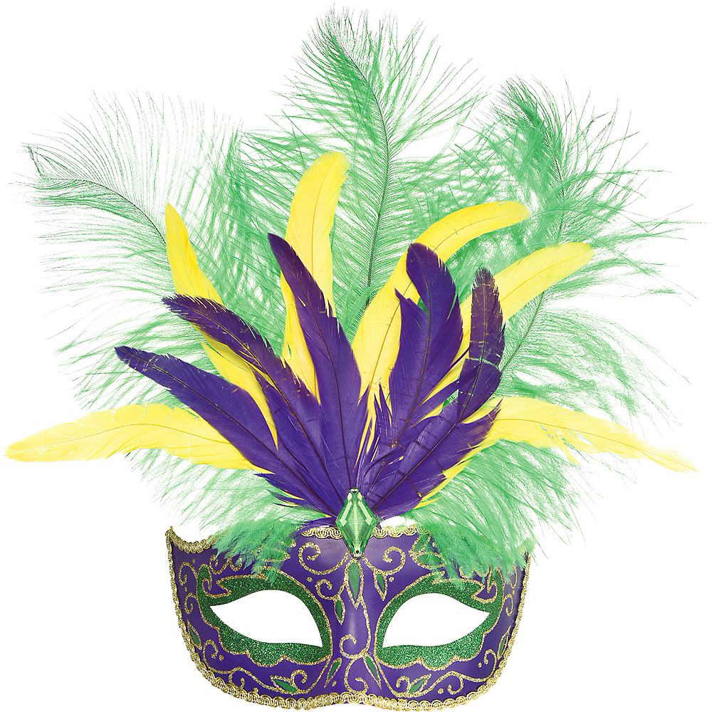 Nav Item for Feather Mardi Gras Masquerade Mask Image #1