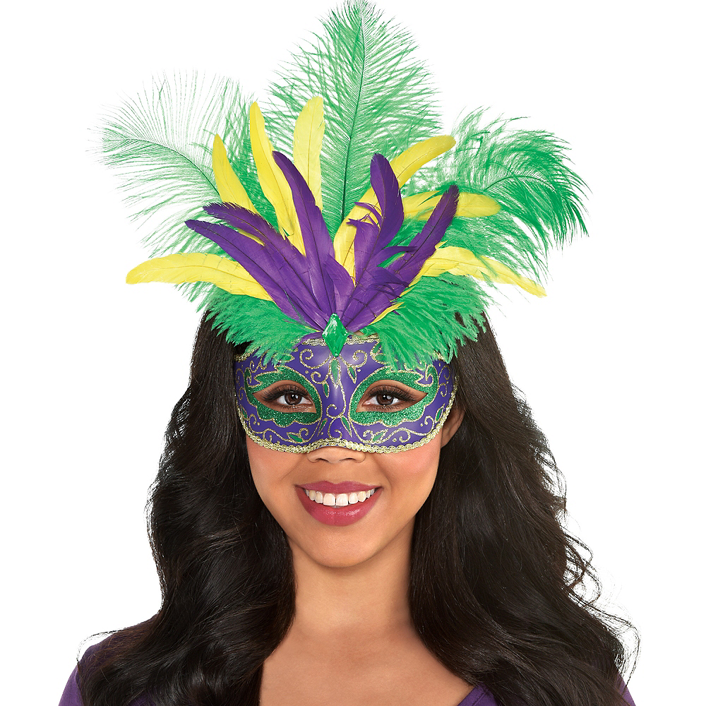 Nav Item for Feather Mardi Gras Masquerade Mask Image #2