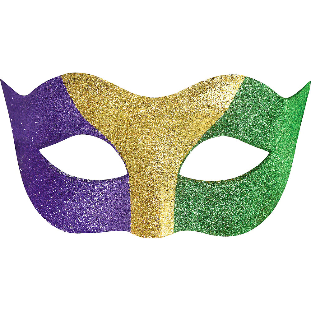 Glitter Gold, Green & Purple Mardi Gras Masquerade Mask Image #1