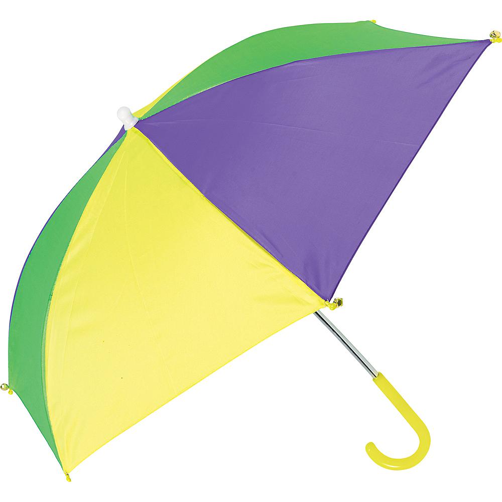 Gold, Green & Purple Mardi Gras Umbrella Image #1