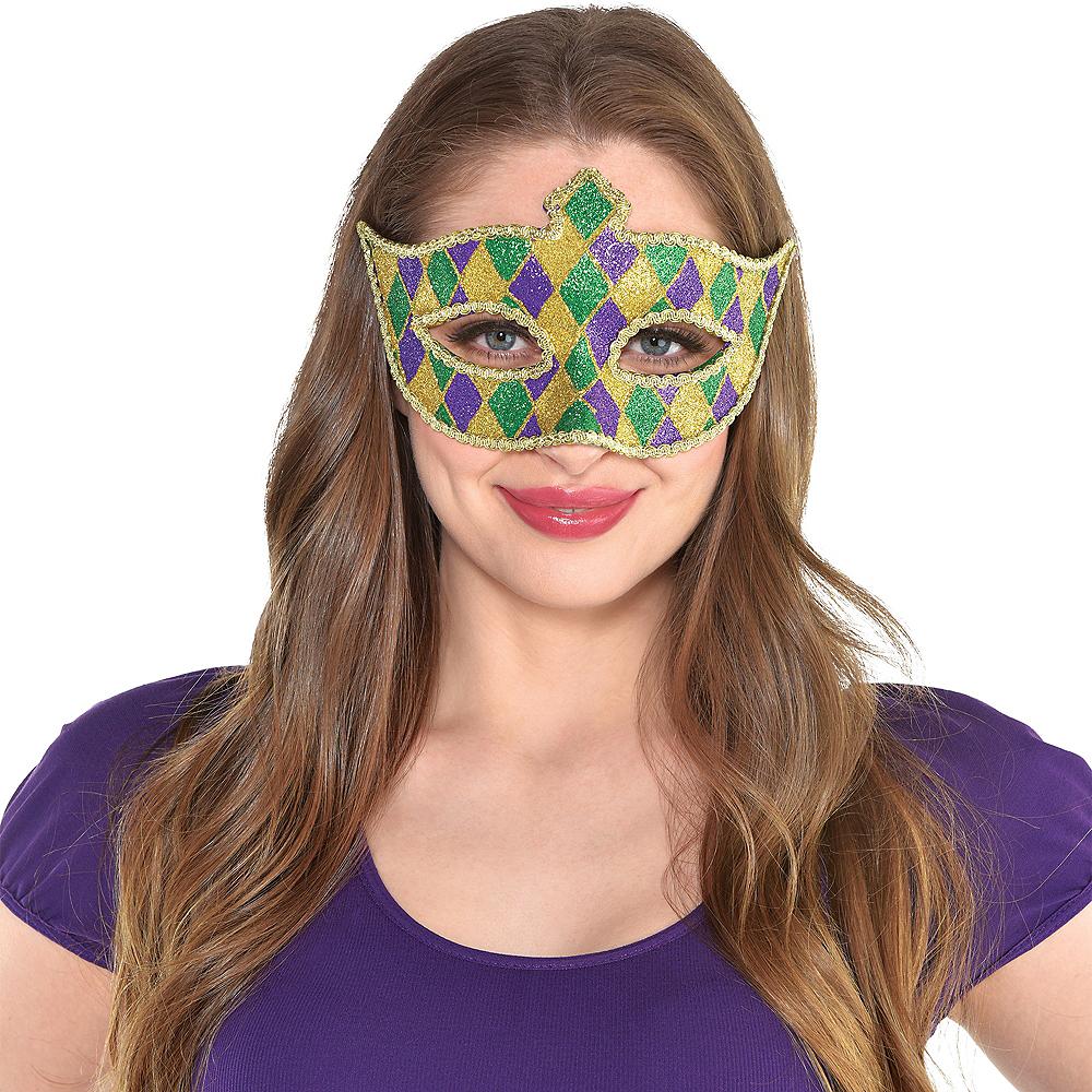 Glitter Harlequin Mardi Gras Masquerade Mask Image #2