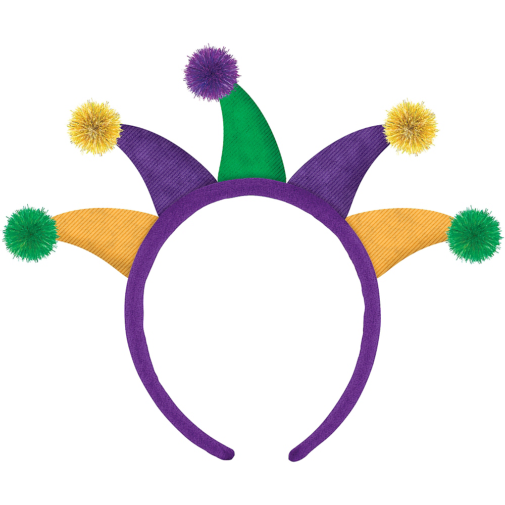 Gold, Green & Purple Mardi Gras Jester Headband Image #1