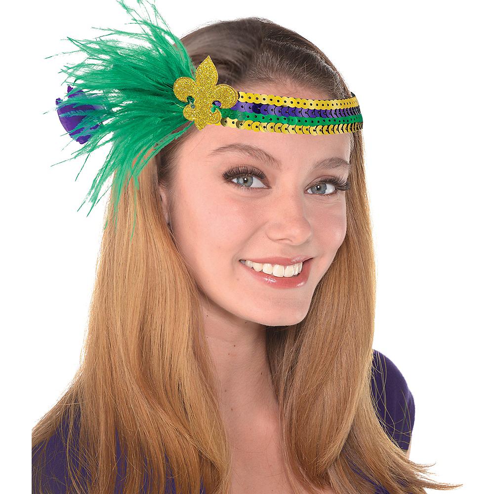 Sequin Mardi Gras Fleur-de-Lis Headband Image #1