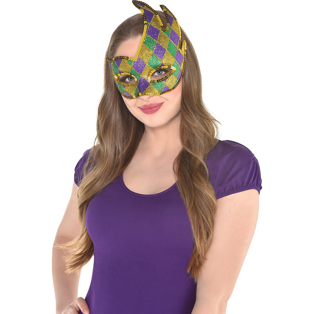 Nav Item for Glitter Harlequin Mardi Gras Party Masquerade Mask Image #2