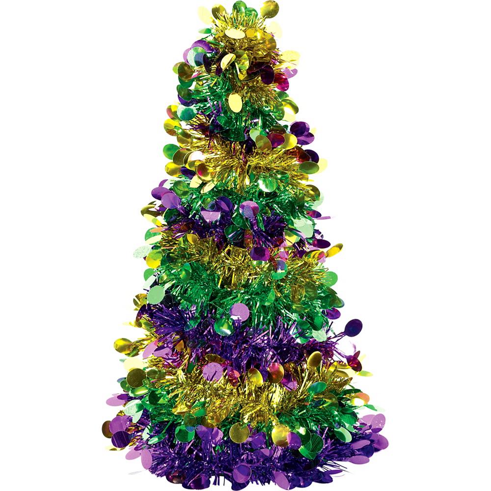 Mini 3D Gold, Green & Purple Tinsel Tree Image #1