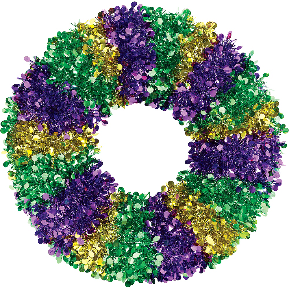 Mardi Gras Tinsel & Sequin Wreath Image #1
