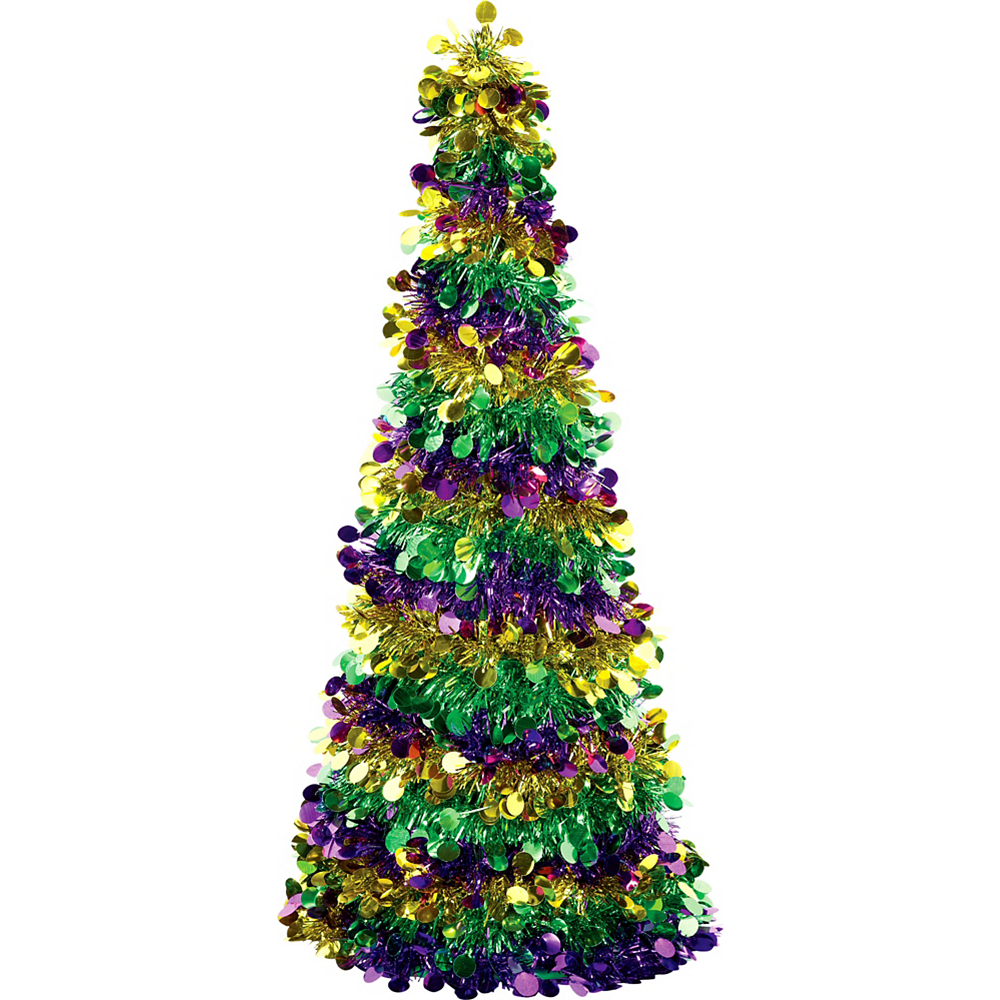 3D Gold, Green & Purple Tinsel Tree Image #1