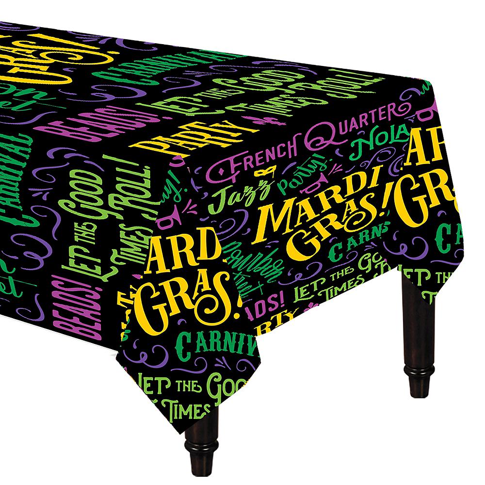 Good Times Mardi Gras Table Covers 3ct Image #1