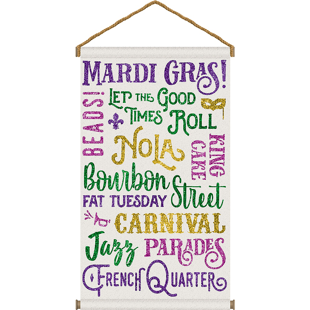 Glitter Good Times Mardi Gras Fabric Sign Image #1