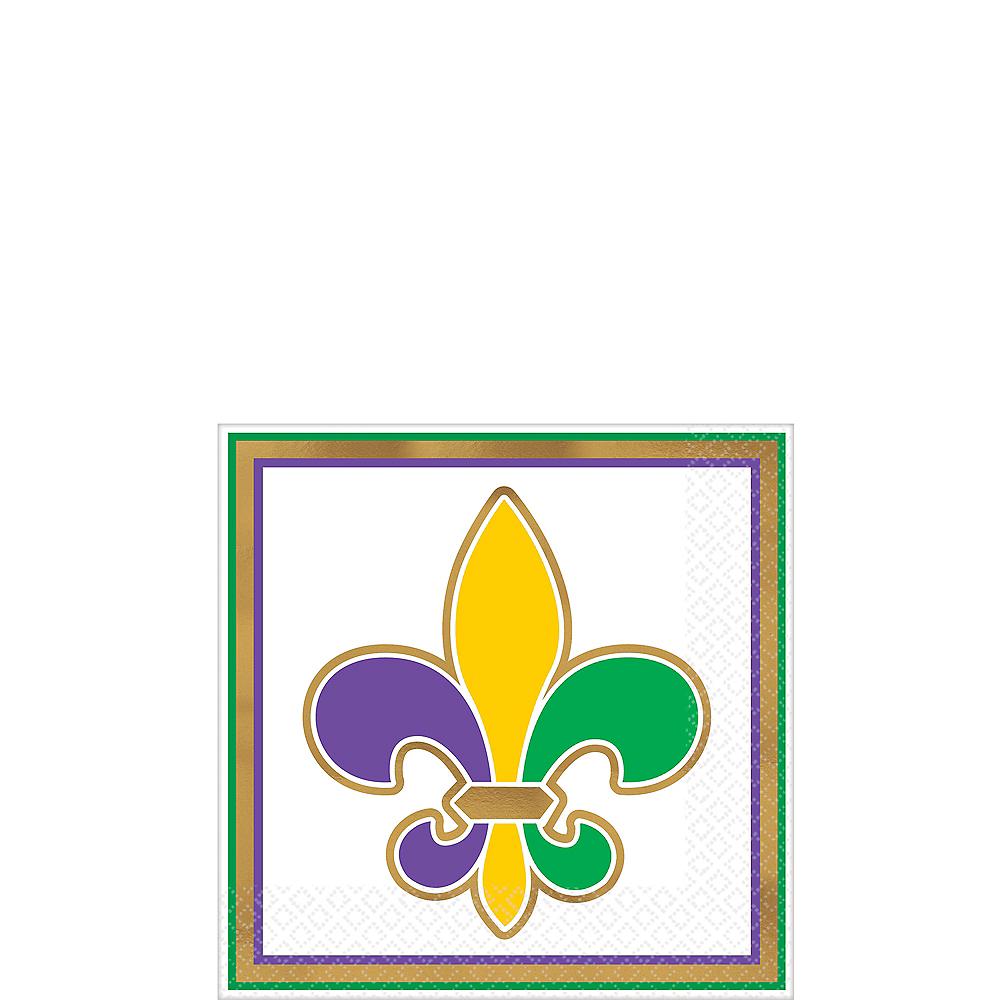 Metallic Gold Fleur-de-Lis Mardi Gras Beverage Napkins 16ct Image #1