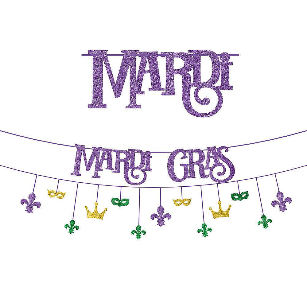 Glitter Good Times Mardi Gras Banner Kit 2pc Image #1