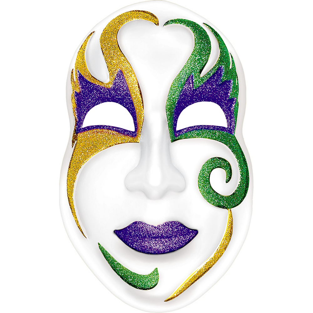 Nav Item for Glitter White Mardi Gras Mask Image #1