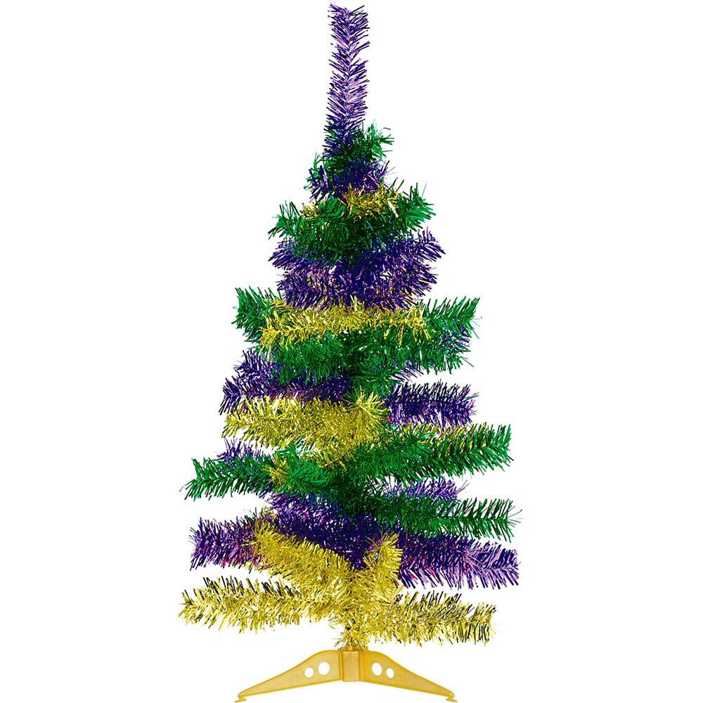 Gold, Green & Purple Mardi Gras Tinsel Tree Image #1