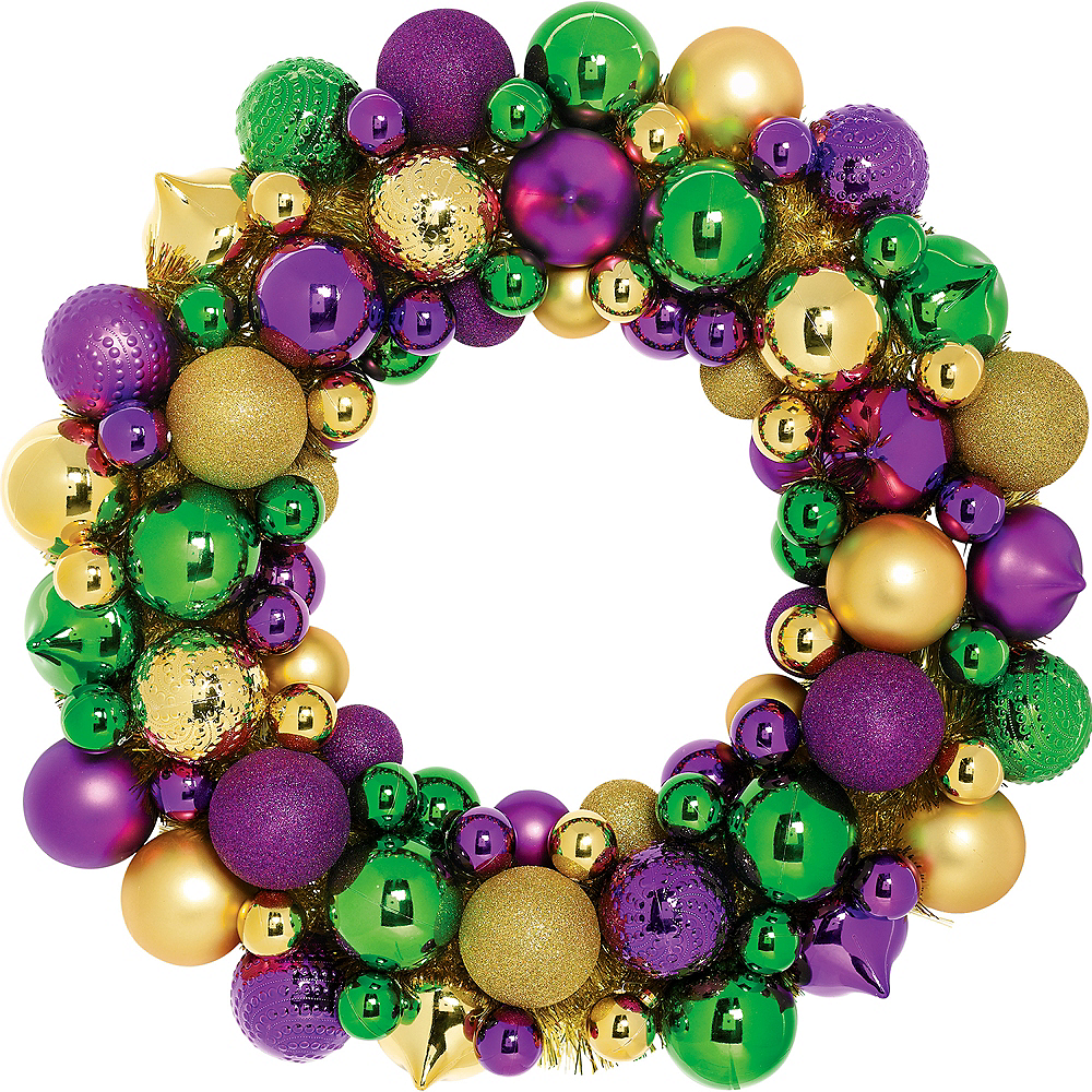 Mardi Gras Ornament Wreath Image #1