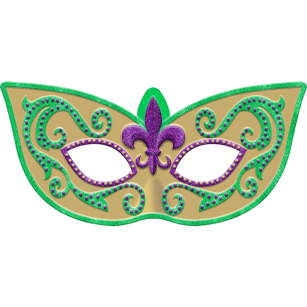 Nav Item for Glitter Mardi Gras Masquerade Mask Sign Image #1