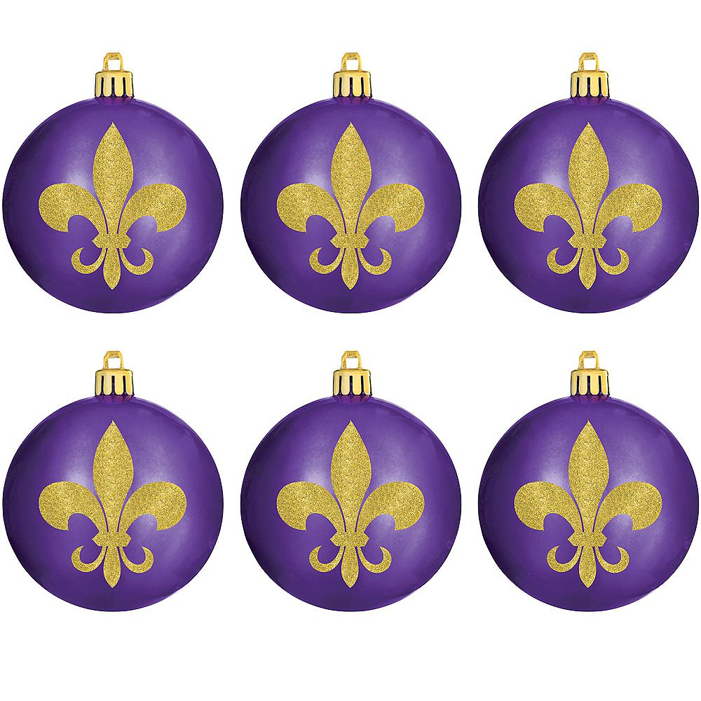 Glitter Gold Fleur-de-Lis Ornaments 6ct Image #1