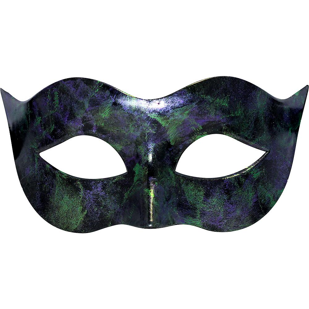 Black, Green & Purple Masquerade Mask Image #1
