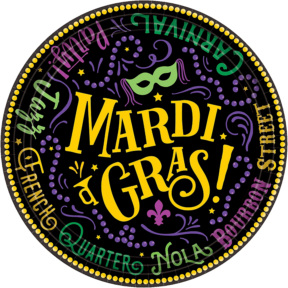 Nav Item for Good Times Mardi Gras Dessert Plates 60ct Image #1