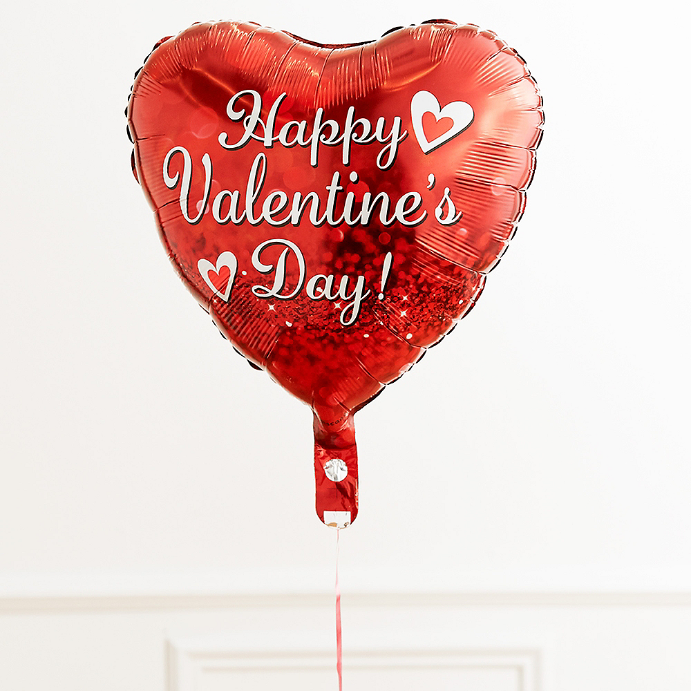 17in Happy Valentine's Day Red Heart Balloon with Ribbon Image #2