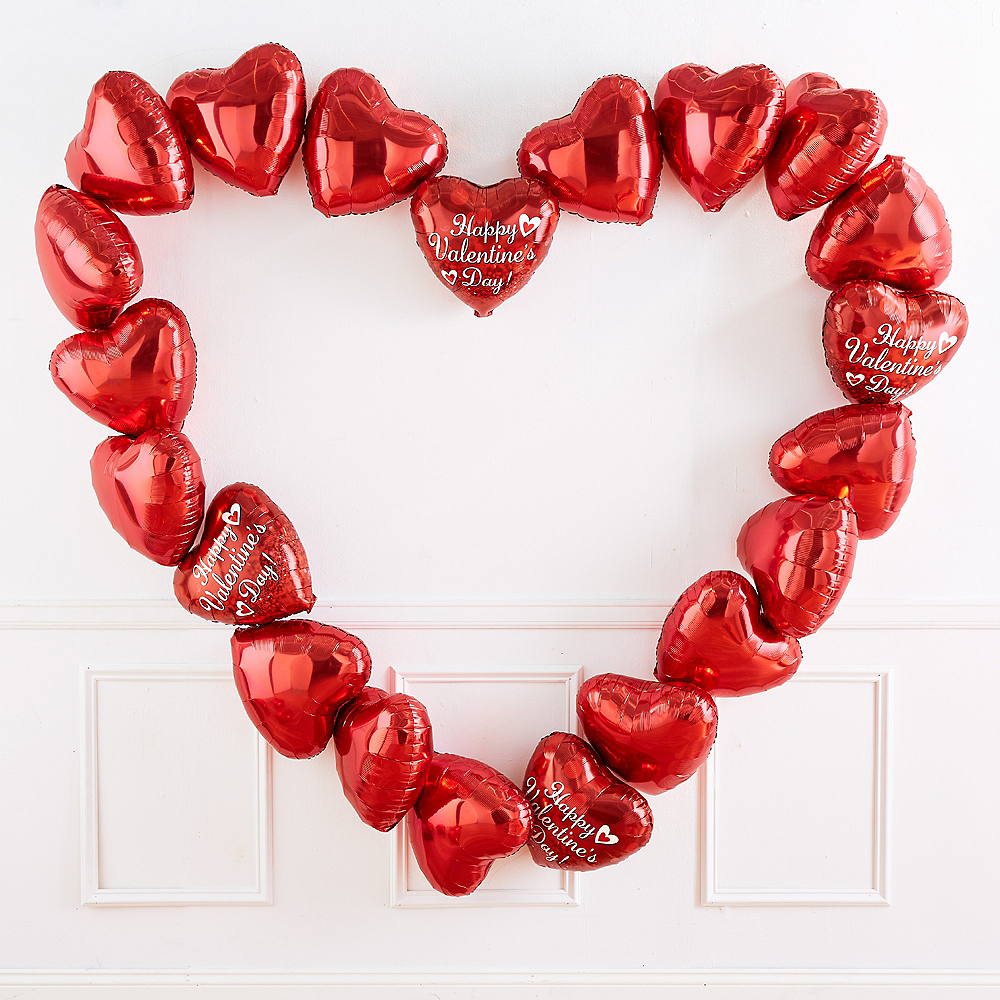 Nav Item for 17in Happy Valentine's Day Red Heart Balloon with Ribbon Image #3
