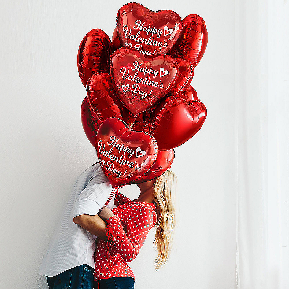 17in Happy Valentine's Day Red Heart Balloon with Ribbon Image #4