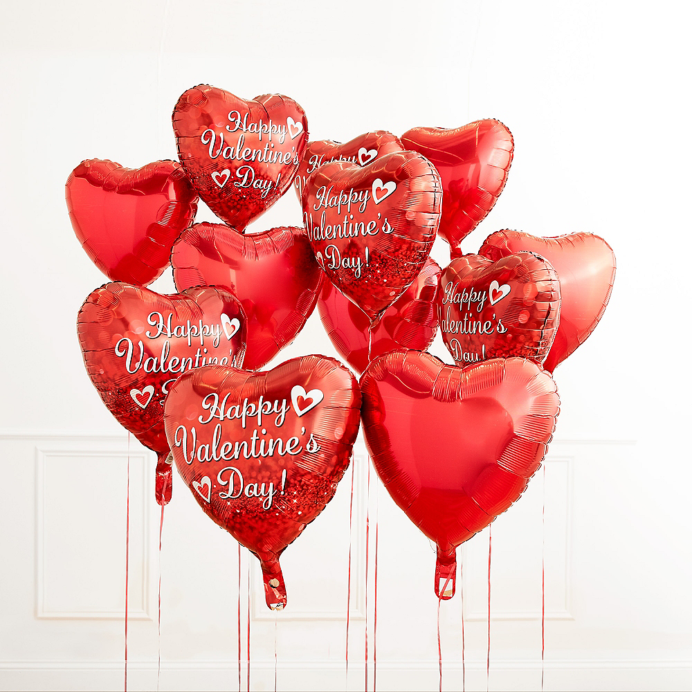 17in Happy Valentine's Day Red Heart Balloon with Ribbon Image #5